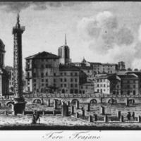 An 18th or 19th century sketch of the Forum of Trajan.