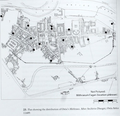Distribution of Mithraea in Ostia, Third Century