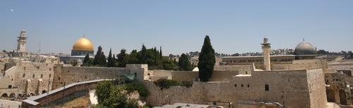 View of the Church of the Holy Sepulcher and the Dome of the Rock in Jerusalem